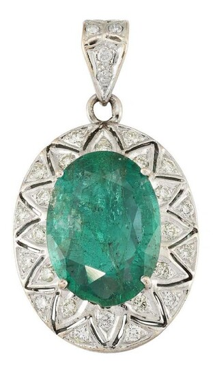 An emerald and diamond pendant, the oval...