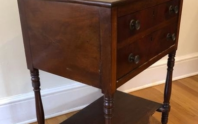 Antique American Empire 2 Drawer Side Table