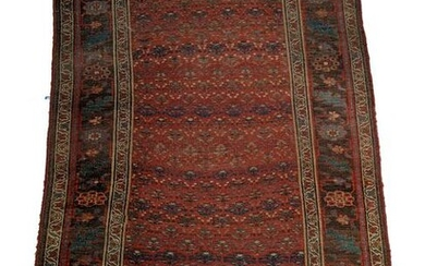 Antique Hand-Knotted Caucasian Wool Rug. Red main field