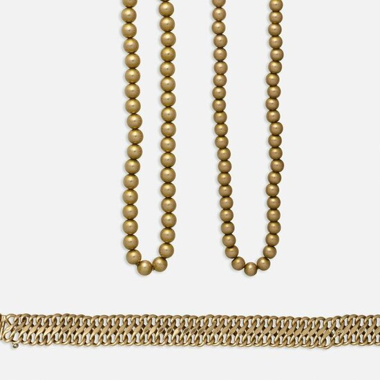 Antique gold bead necklaces and group of gold jewelry