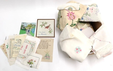 Assorted Embroidered Linens, including five large bed covers, cloths, tray...