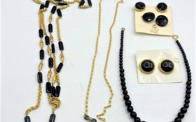 Assorted Vintage Jet Black Gold Tone Necklaces Earrings