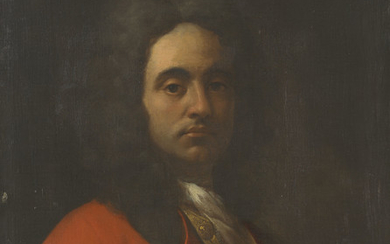Attributed to Francesco Solimena (Canale di Serino 1657-1747 Barra), Portrait of a gentleman, half-length, in a red coat