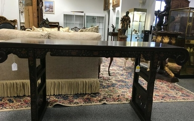 BLACK LACQUER CHINOISERIE ALTAR TABLE OR CONSOLE