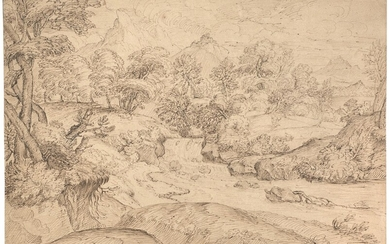 BOLOGNESE SCHOOL, 17TH CENTURY, A wooded landscape crossing by a river