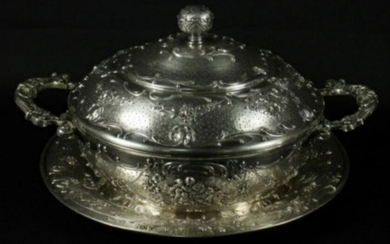 Beautiful Silver Bowl With Lid And Underplate