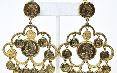 C 1975 Gilt Earrings W Faux Native American Coins