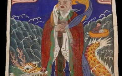 CHINESE ANTIQUE SCROLL WITH DRAGON AND IMMORTAL
