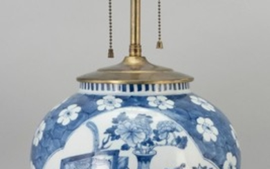 CHINESE BLUE AND WHITE PORCELAIN LAMP In meiping form, with two cartouches containing a vase and scholars' objects on a cracked ice...