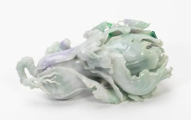 CHINESE CARVED JADE CABBAGE WITH RABBITS