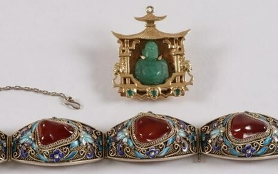 CHINESE GOLD, JADE, & ENAMEL JEWELRY