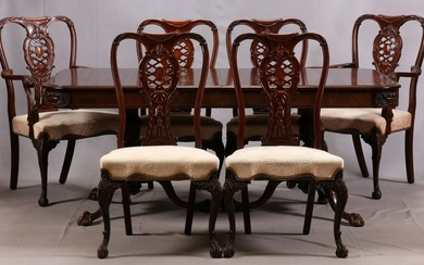 CHIPPENDALE STYLE MAHOGANY DINING SET
