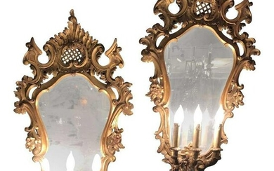 Carved Three-Light Mirrored Sconces