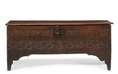 Carved oak coffer English, late 17th century H: 22...