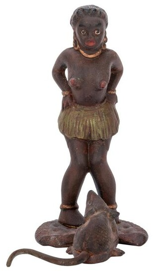 Cast Iron Nude African Woman Figure. Early 20th century