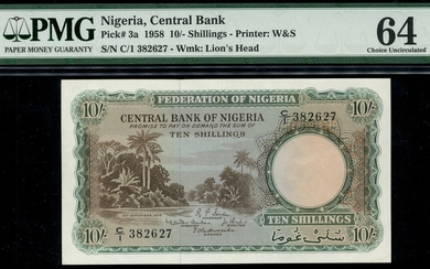 Central Bank of Nigeria, 10 shillings, 15 September 1958, serial number C/1 382627, (Pick 3a, T...