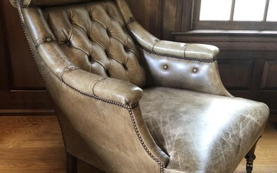 Chesterfield Tufted Leather High Back Arm Chair