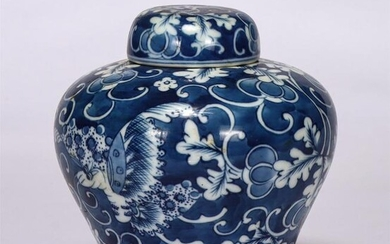 Chinese Blue White Flower And Butterfly Lidded Jar