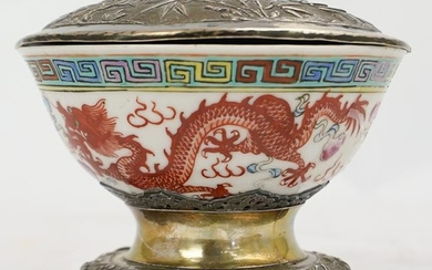 Chinese Porcelain Bowl with Silver