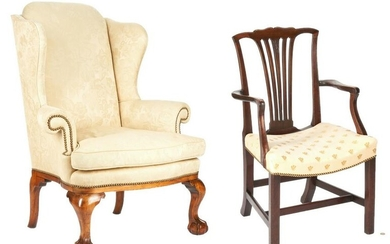 Chippendale Wingback Chair & Armchair
