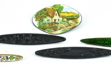 Collection of Antique Enamel & Iron Brooch Pins