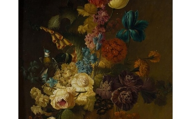 DUTCH SCHOOL (19TH CENTURY) STILL LIFE OF FLOWERS AND FRUIT IN A VASE