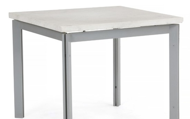 Danish design: Square coffee table with grey lacquered metal frame. Top of white marble. H. 51 cm. L./W. 60 cm.