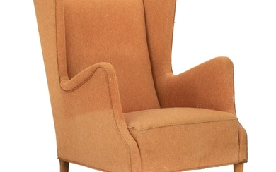 Danish furniture design: Wingback easy chair with round, tapering beech legs. Sides, seat and back upholstered with orange wool.