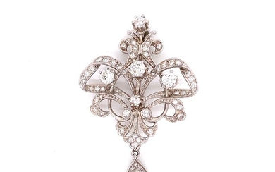 Diamond 18k White Gold Victorian Revival Brooch