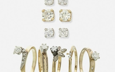 Diamond rings and earrings