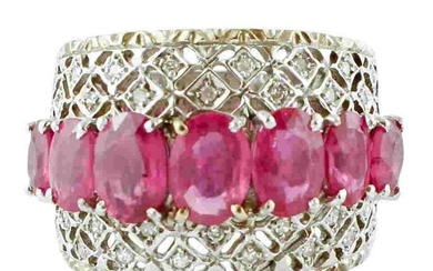 Diamonds, Rubies, 14 Karat White Gold Band Ring