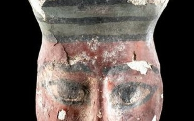 Egyptian Wood & Painted Gesso Mummy Mask