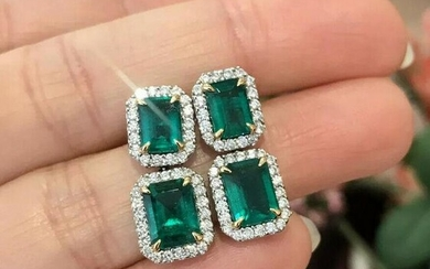 Emerald & Diamond Drop Earrings in 18k White Gold