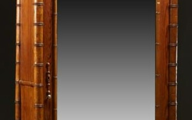 English Pitch Pine Faux Bamboo Armoire, c. 1880, the