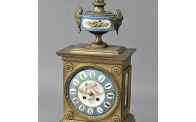 FRENCH GILT METAL AND PORCELAIN MOUNTED MANTEL CLOCK the 5 1...