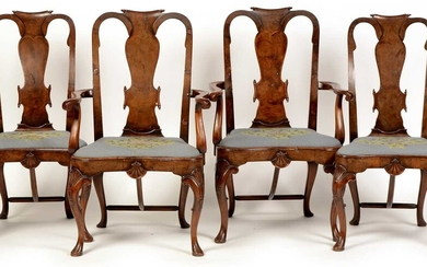 Four 19th Century Queen Anne style walnut and crossbanded dining chairs