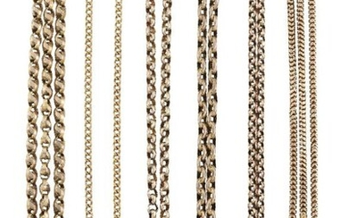 Four Victorian gold guard chains, one 15ct,...