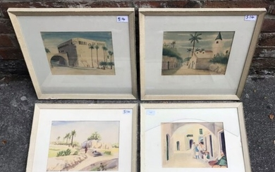 Four various studies of Middle Eastern street scenes with fi...
