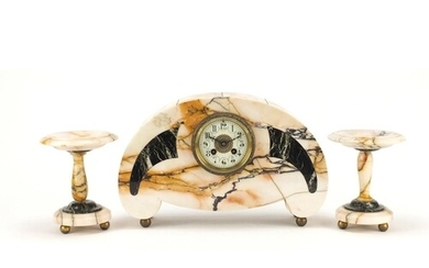 French Art Deco marble mantle clock with garnitures, the man...