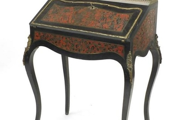 French ebonised boulle work bureau De Dame with ornate