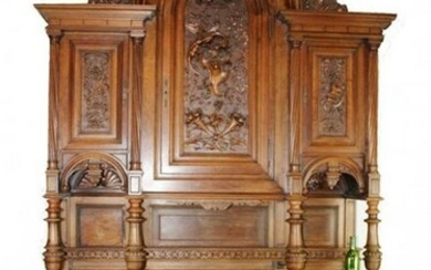French grand buffet in carved walnut with dragon