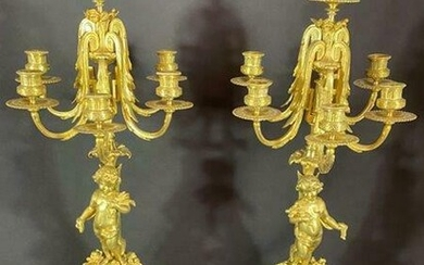 Gilded bronze Antique 19c Cherubs Candelabras Louis XV