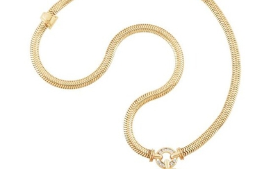 Gold, Gold Coin and Diamond Pendant Snake Chain Necklace