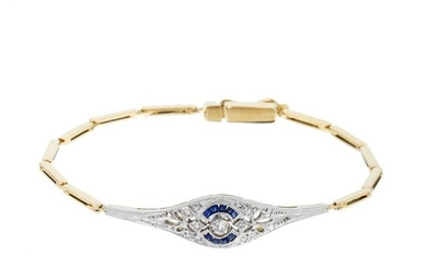 Gold art deco bracelet with diamonds and sapphires