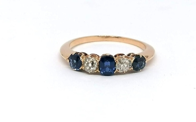 "Gold ring diamond and sapphir ""Riviere"" ring"