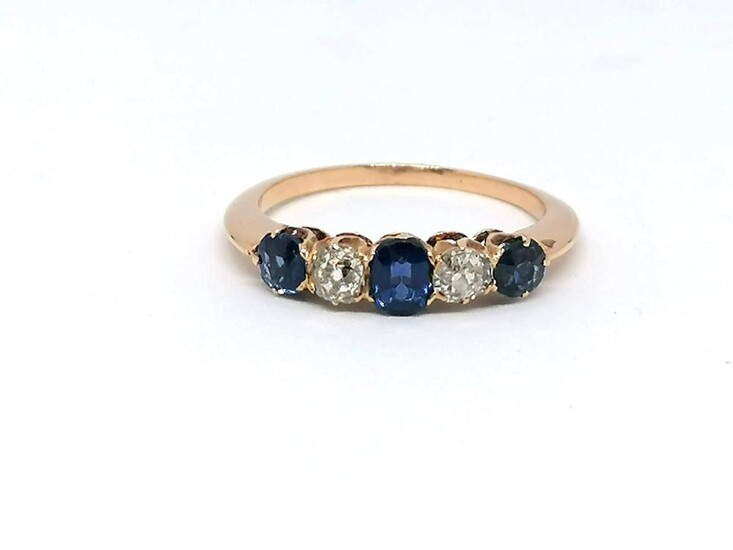 """Gold ring diamond and sapphir """"Riviere"""" ring"""