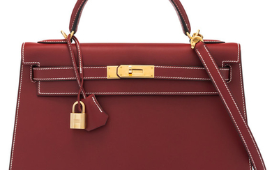 Hermès 32cm Rouge H Calf Box Kelly with Gold...