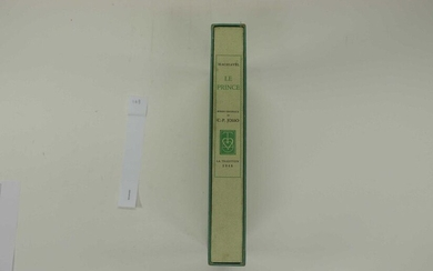 [JOSSO] MACHIAVEL The Prince. With 35 original etchings by C.-P. Josso. 1 vol. in-4 in ff. under filled shirt, case and box. Paris La Tradition 1948. Printed at 310 numbered copies, this one 1 of 280 on Arches (n° 216). The work has 2 frontispices. The...