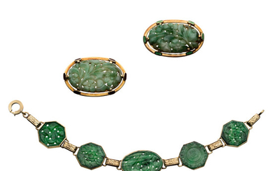 Jadeite Jade, Gold Jewelry Lot The lot includes a...