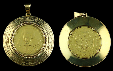 Jewellery gold - 18k yellow gold medal Louise de Coligny, in 14k mounting